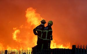 Fire crews at the scene of a major fire at the Oxigen recycle plant in Ballymount