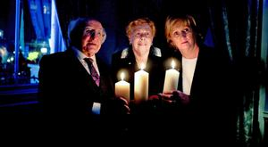 President Michael D Higgins with Holocaust survivor Suzi Diamond and Eibhlin Byrne, chair of the Holocaust Education Trust Ireland, in the Mansion House
