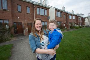 Sharon Conway with her 4 year old son Jayden who lives in the Millfield Estate Newbridge, Co. Kildare