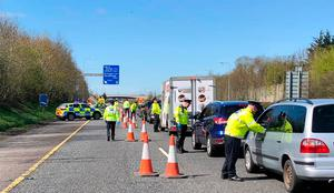 Gardai released a photograph of officers conducting checkpoints outside Dublin