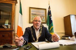Lord Mayor Christy Burke at work in his office