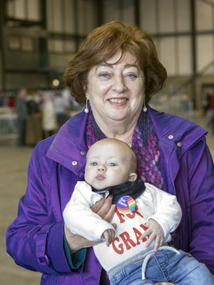 Social Democrats co-leader Catherine Murphy with her grandson Oisin O'Halloran