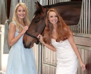 Kerrie Nicole Blanc and Aoife Walsh launch the best dressed contest at Punchestown