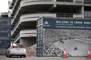 A car enters Croke Park in Dublin where a Covid-19 testing station is up and running