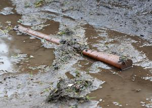 A pickaxe handle lying in the mud