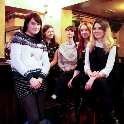 Katie O'Neill, Ruth and Julie Morrissey, Laura Lovejoy and Paula Cullen of X-ILE and, inset, the nine women