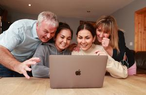 Nekane and Carla Barnes with their parents Brian and Charo at home in Malahide