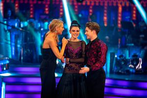 Strictly Come Dancing Presenter Tess Daly with Lauren Steadman and AJ Pritchard on Saturday's show. Pic: PA