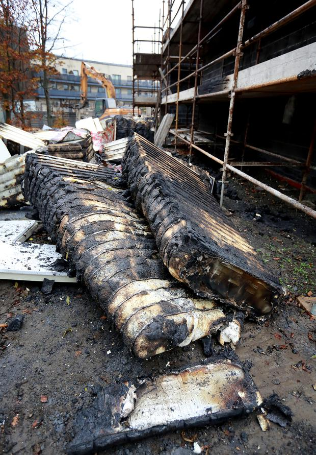 Insulation which was destroyed on Wednesday night in a fire in the grounds of Ladyswell National School in Mulhuddart, west Dublin, where building work is being carried out