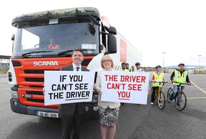 Minister for Transport, Tourism and Sport, Paschal Donohoe T.D. launch the Road Safety Authority's new campaign to highlight the issue of blind spots on trucks, particularly in relation to cyclists. The launch of the campaign coincides with National Bike Week. The Minister is joined by Ms Moyagh Murdock, Chief Executive Office