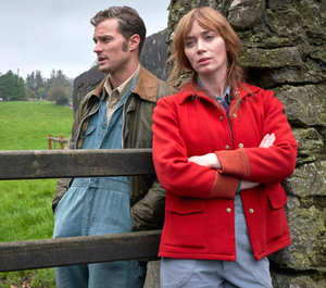 Jamie Dornan and Emily Blunt in a scene from the new rom-com Wild Mountain Thyme