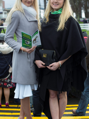 Sisters Maggie and Katie McGivern at day two of the Leopardstown Christmas Festival Photo: Fergal Phillips