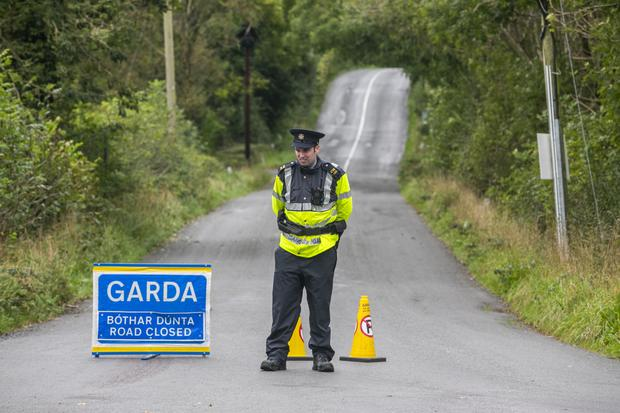 A garda cordon at the scene of Kevin Lunney's abduction