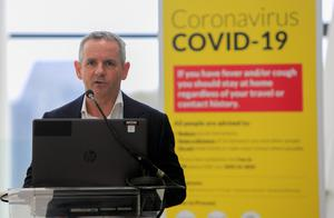 HSE Director General Paul Reid during a briefing on the Covid-19 crisis at the O'Brien Centre for Science in UCD