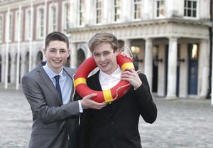 Irish Water Safety honoured remarkable rescuer James Bould who rescued cousin Evan Ahearne  at George's Hall, Dublin Castle this evening. Pic Stephen Collins/Collins Photos