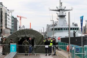 Members of the Defence Forces at a Covid testing tent on Sir John Rogerson's Quay in Dublin in March