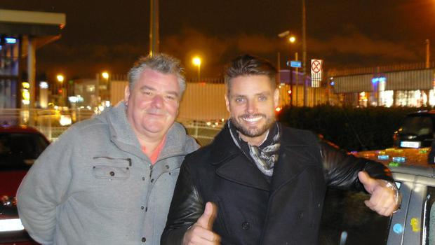 Taxi driver Declan Scully with passengers Keith Duffy
