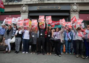 Workers protesting outside Clerys