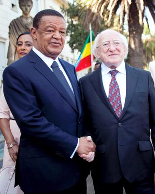 President Michael D Higgins with H.E. Dr Mulatu Teshome, President of Ethiopia at The National Palce in Addis Ababa in Ethiopia on the second day of the Presidents 22 day official visit to Ethiopia, Malawi and South Africa.Photo Chris Bellew / Fennell Photography 2014