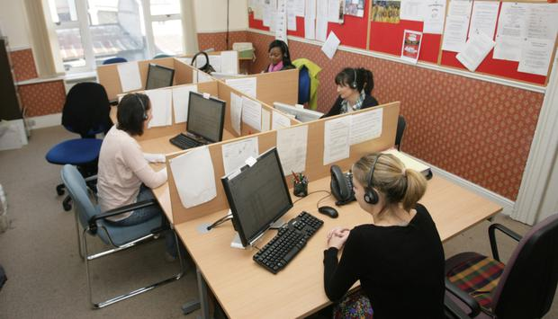 Volunteers in the Childline office in Dublin city centre