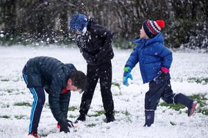 Eamon Lott (6), Riain Keegan (11) and Zach Nevin (9) pictured enjoying the snow in Lucan