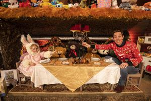 Isabella Douglas (4) from Meath is pictured with Ryan Tubridy on the Roald Dahl themed set of this years The Late Late Toy Show