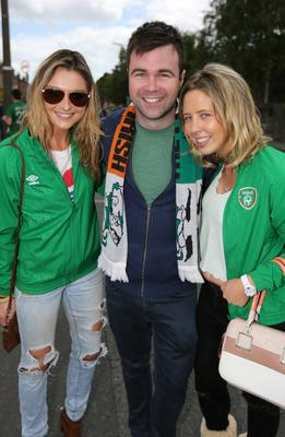 Irish Fans, Maeve Malone, Galway, Dylan Sheehan, Cork and Aoife Quinn, Cork pictured at Lansdowne Rd yesterday.