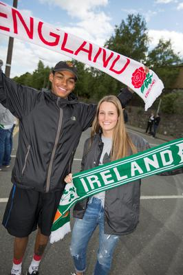Dillon Ojo and Irish Fan, Sarah Lessarb pictured at Lansdowne Rd yesterday.