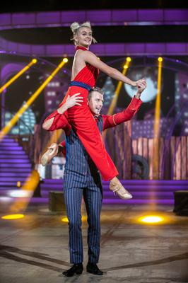 Kilkenny Hurler Aidan Fogarty with Pro Dancer Emily Barker pictured during the live show of Dancing with the stars.