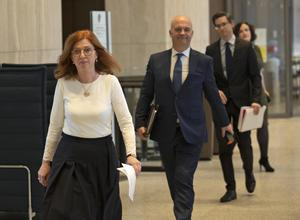 HSE Integrated Care Lead Dr Siobhan Ni Bhriain, Chief Medical Officer Dr Tony Holohan and Deputy Chief Medical Officer Dr Ronan Glynn arrive for a Covid-19 update at the Department of Health. Photo: Colin Keegan/Collins Dublin