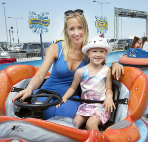 Gintare Butkiene and her daughter Leja (8) at Fun Zone in Bray