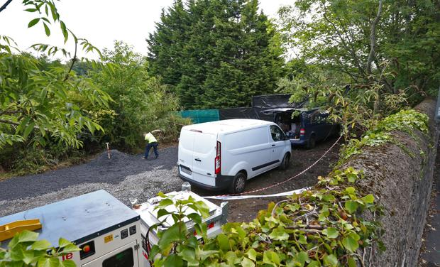 Searches are under way at the site in Chapelizod for evidence linked to the disappearance of Trevor Deely. Photo: Colin Keegan/Collins Photo Agency Dublin