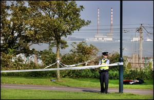 Gardaí at the scene of the discovery of a body in Booterstown in south Dublin yesterday