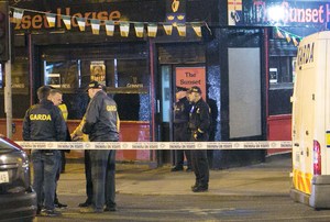 Gardai at the scene of Michael Barr's murder at the Sunset House pub in Dublin back in 2016
