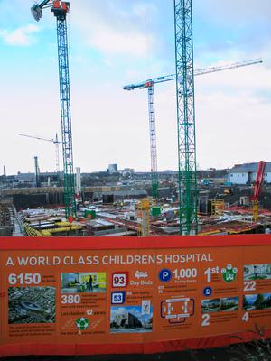 Building work at the site of the new National Children's Hospital.