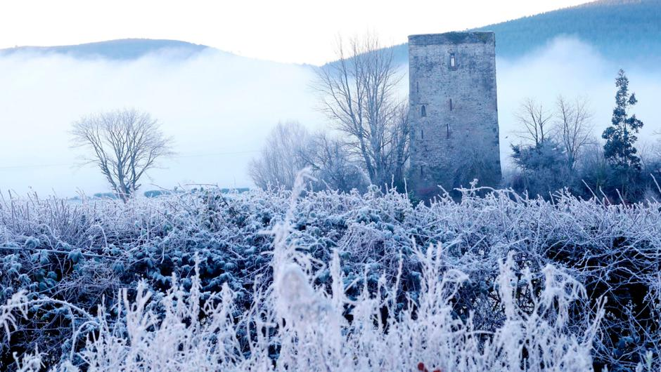 Frozen fields around Poulakerry Tower House in Kilsheelan Co Tipperary