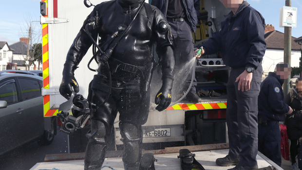 Members of the Garda water unit outside the home of Jonathan Dowdall