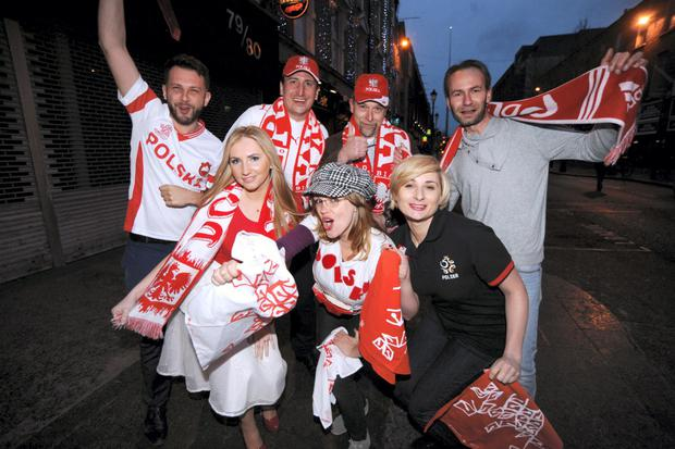 Polish fans pictured in Dublin ahead of Sunday's world cup qualifier between Republic of Ireland v Poland at the Aviva Stadium. Talbot Street, Dublin. Picture: Caroline Quinn