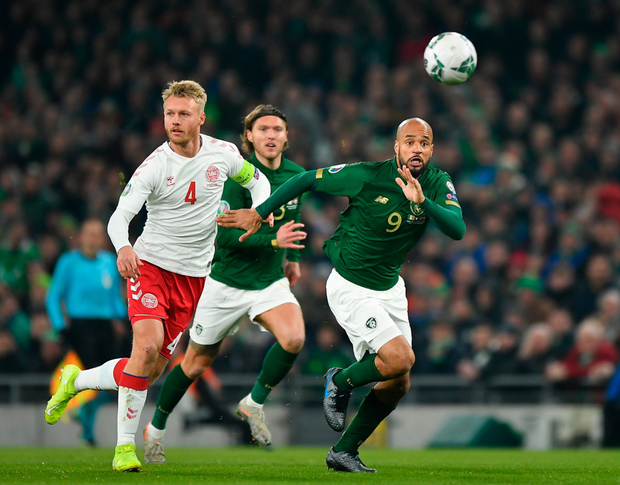 David McGoldrick in action for the Republic of Ireland during their November 18 qualifier against Denmark at the Aviva Stadium