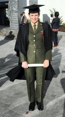 0731- Pte Emma Ging being awarded Higher Certificate in Arts in Leadership, Management and Defence Studies (Level 6