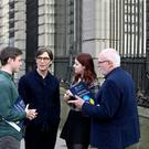 Pictured with actor Cillian Murphy, UNESCO Chair Professor Pat Dolan Unesco, Child and Family Research Centre NUI Galway were students Nathan de Bustos, Conor Eivers and Seamus Flannery from CBS Monkstown Park, Dublin. Picture Jason Clarke
