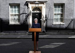 British PM Theresa May at Downing Street, announcing that she is seeking a snap election on June 8 Photo: Reuters