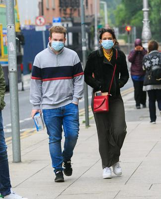 People wearing face masks in Dublin city centre yesterday