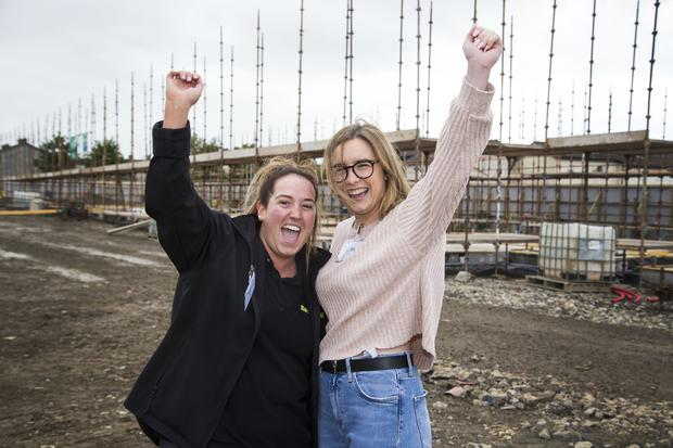 Future homeowners Tammy Dempsey and Nicole Hudson at the O Cualann Cohousing Alliance development site in Ballymun