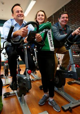 Leo Varadkar and Paschal Donohoe with cyclist Ciara Doogan at the National Physical Activity Plan launch in 2016