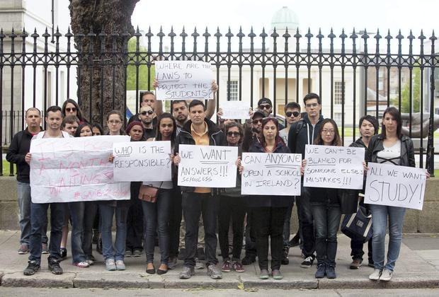 Students protest over the schools' closures. Photo: Gareth Chaney/Collins