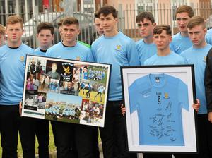 06/06/15 Belvedere Fc pay tribute to team mate,at the Funeral of Shetemi (Shay)Ayetigbo Rufai which took place at Donabate Portane Cummunity Centre in Dublin this afternoon... Pic Stephen Collins/Collins Photos