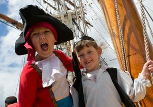 Pictured in full swing at Dublin Port's Riverfest are Aaron Westerman,aged 7 and Emily Kelly, aged 7 from Kildare.