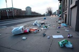 Litter on the footpath at Ushers Quay in Dublin.