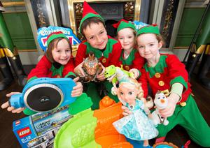 Abigail (7) and Harry Towler (9) with Orla (9) and Aisling O'Sullivan (5) at the launch of the upcoming nine-day Christmas Toy Show at the RDS.  All the top toys this Christmas will be available for sale at the Christmas Toy Show, which takes place in the RDS from November 22-30, see www.christmastoyfair.ie Picture Andres